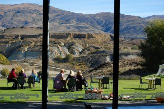 View from the Carrick winery restaurant over the Bannockburn inlet