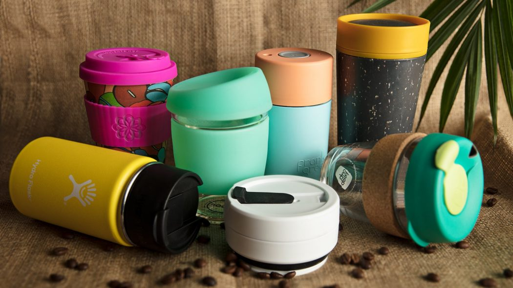 Reusable coffee cups.