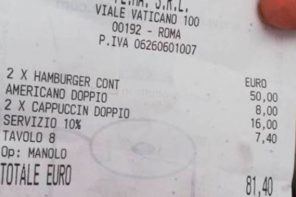 Italian restaurant hammers diners with large bill