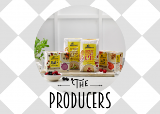 """A variety of Harraways products with text """"The Producers"""" at the bottom"""