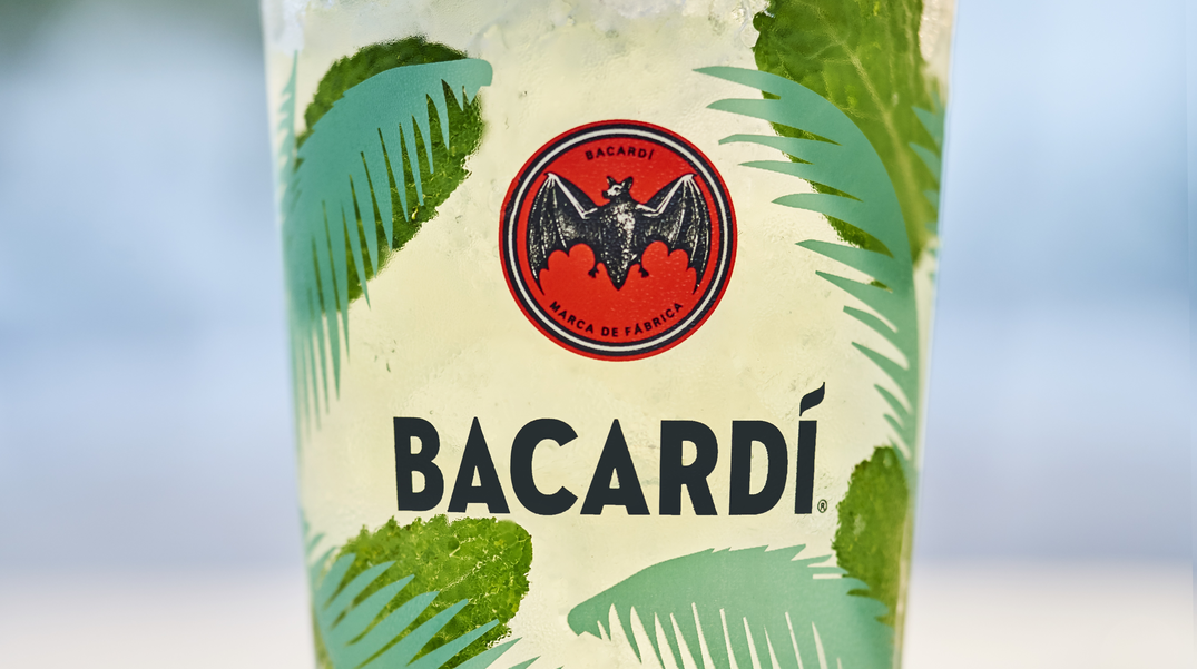 A close-up of a glass of Bacardi mojito