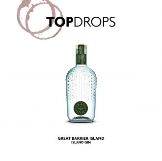 Top Drops with Island Gin bottle