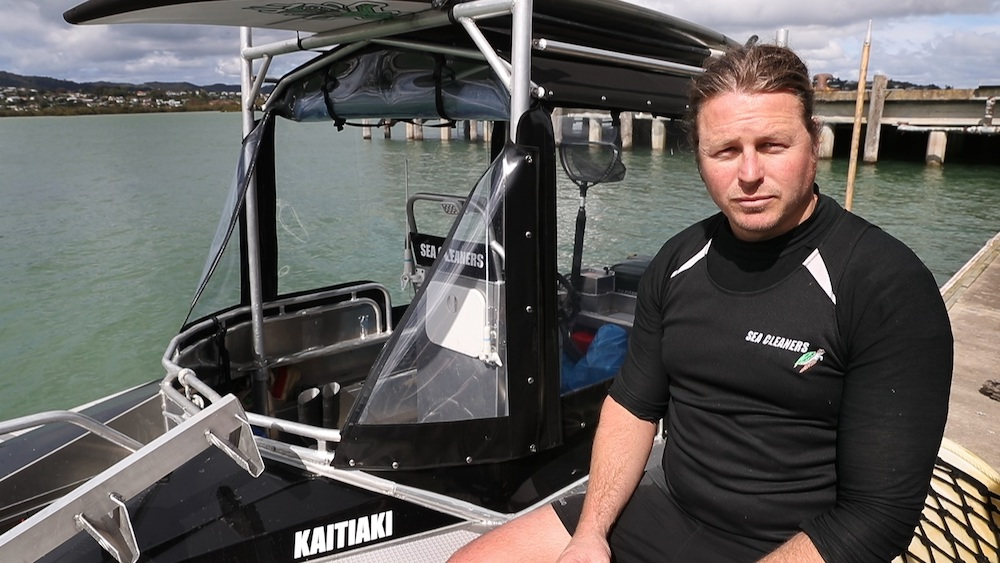 Captain Hayden Smith, founding trustee of Sea Cleaners, pictured on one of their boats in Whangarei.  