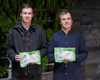 George and Ben Bostock With Compostable Packaging