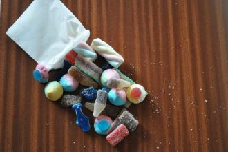 a one-dollar lolly mix spread out on a table