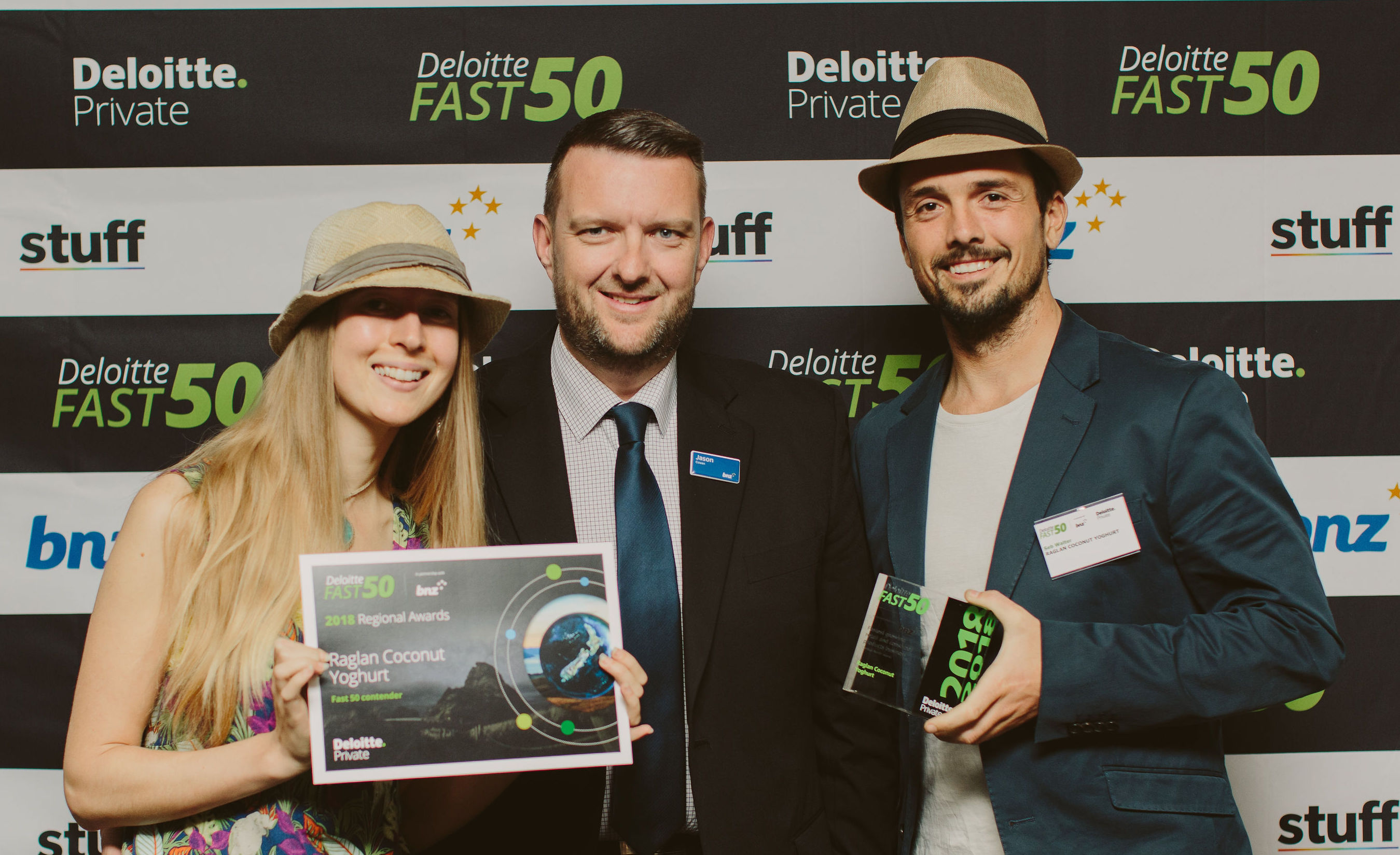 The Raglan Coconut Yoghurt team holds their Fast50 award