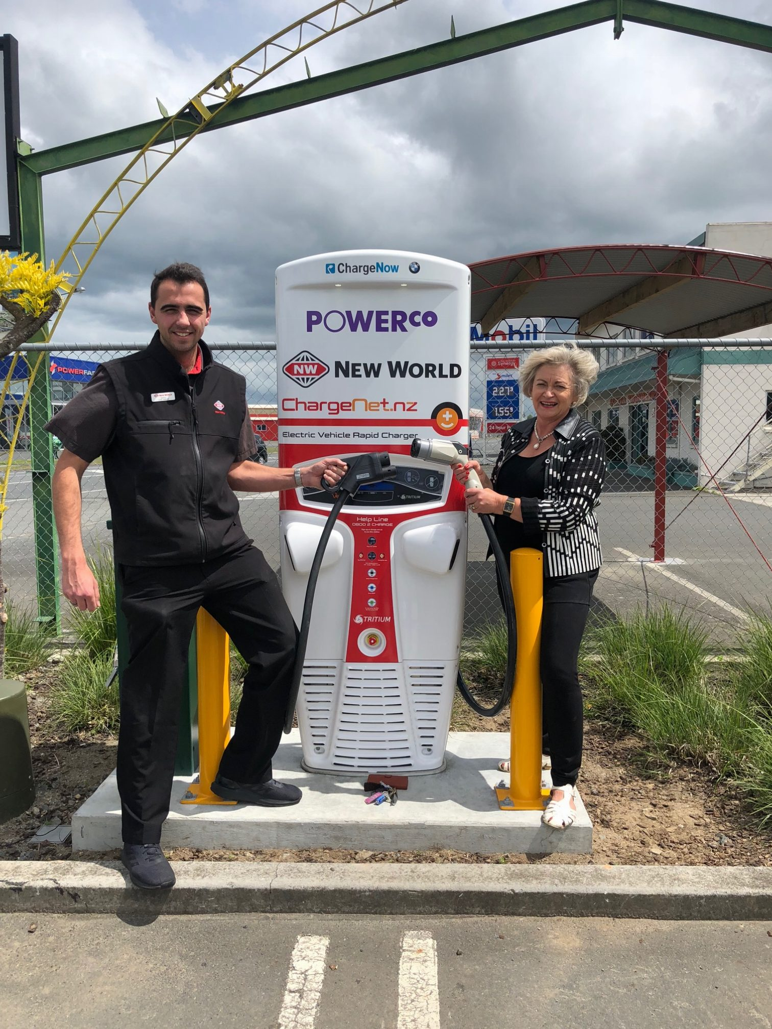 Matamata-Piako District Mayor Jan Barnes with New World Morrinsville manager Samuel Fletcher