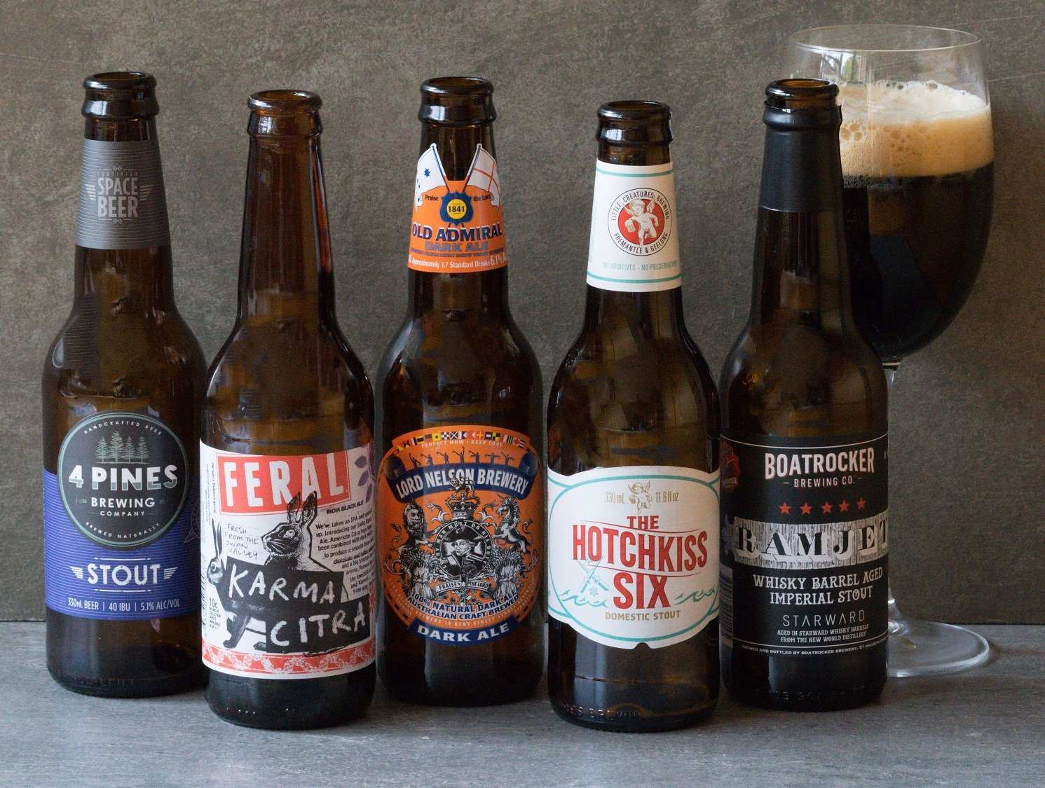 australian craft beer bottles lined up in a row