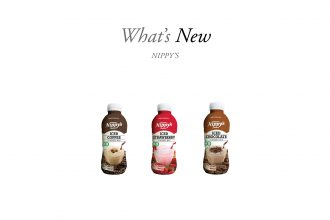nippy's new PET packaging. 3 bottles: chocolate, coffee, and strawberry flavours