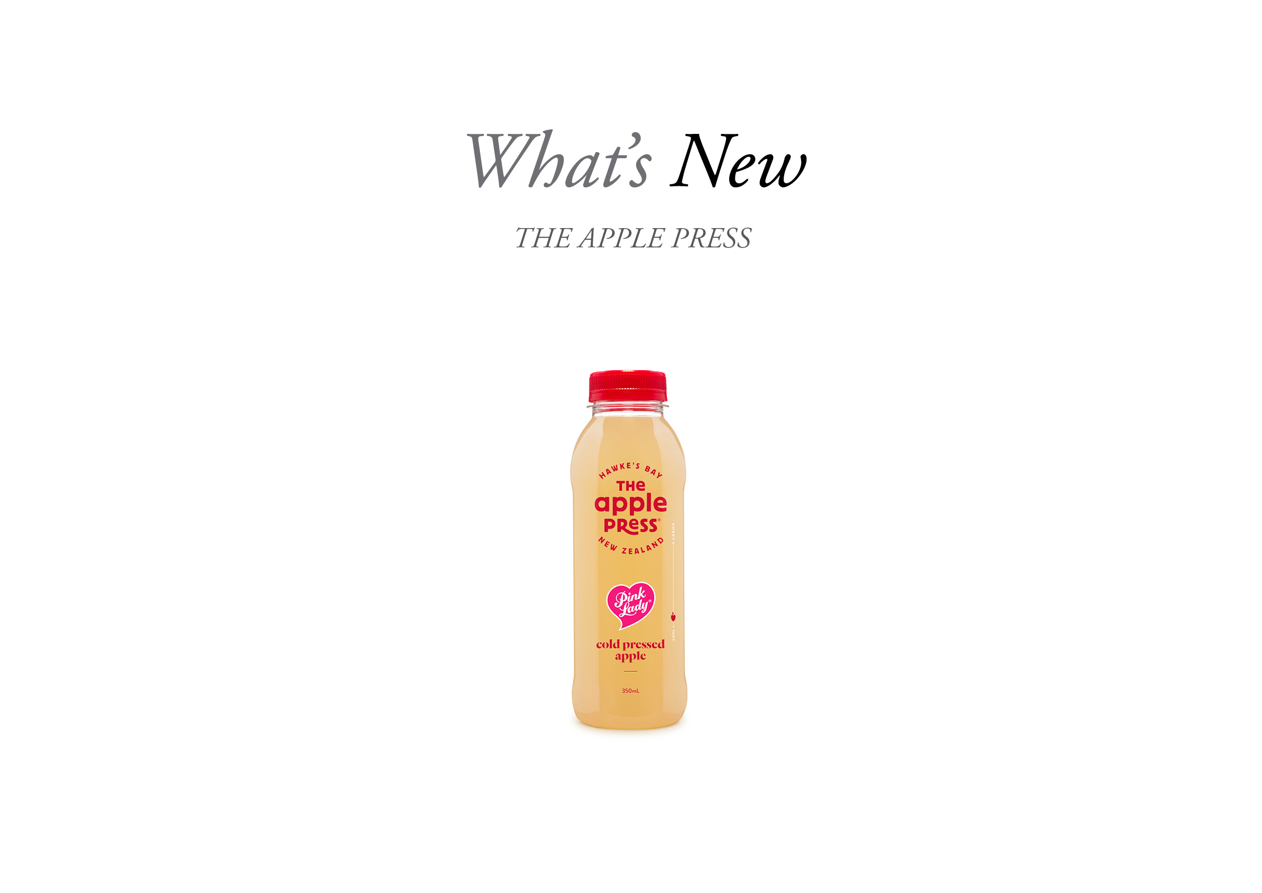 the apple press pink lady bottle with a what's new symbol