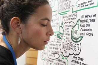 Pepper Curry, a graphic facilitator, 'mind maps' discussions at the Future Food Conference. Photo / Duncan Brown