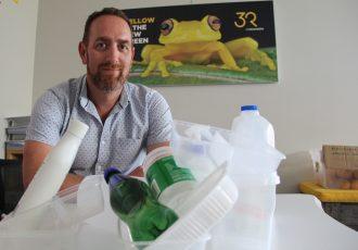 Dominic Salmon and plastic bottles