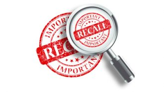 Food recall text with magnifying glass
