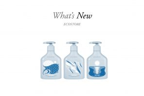 Pale blue ecostore ocean waste handwash bottles with ocean-themed design