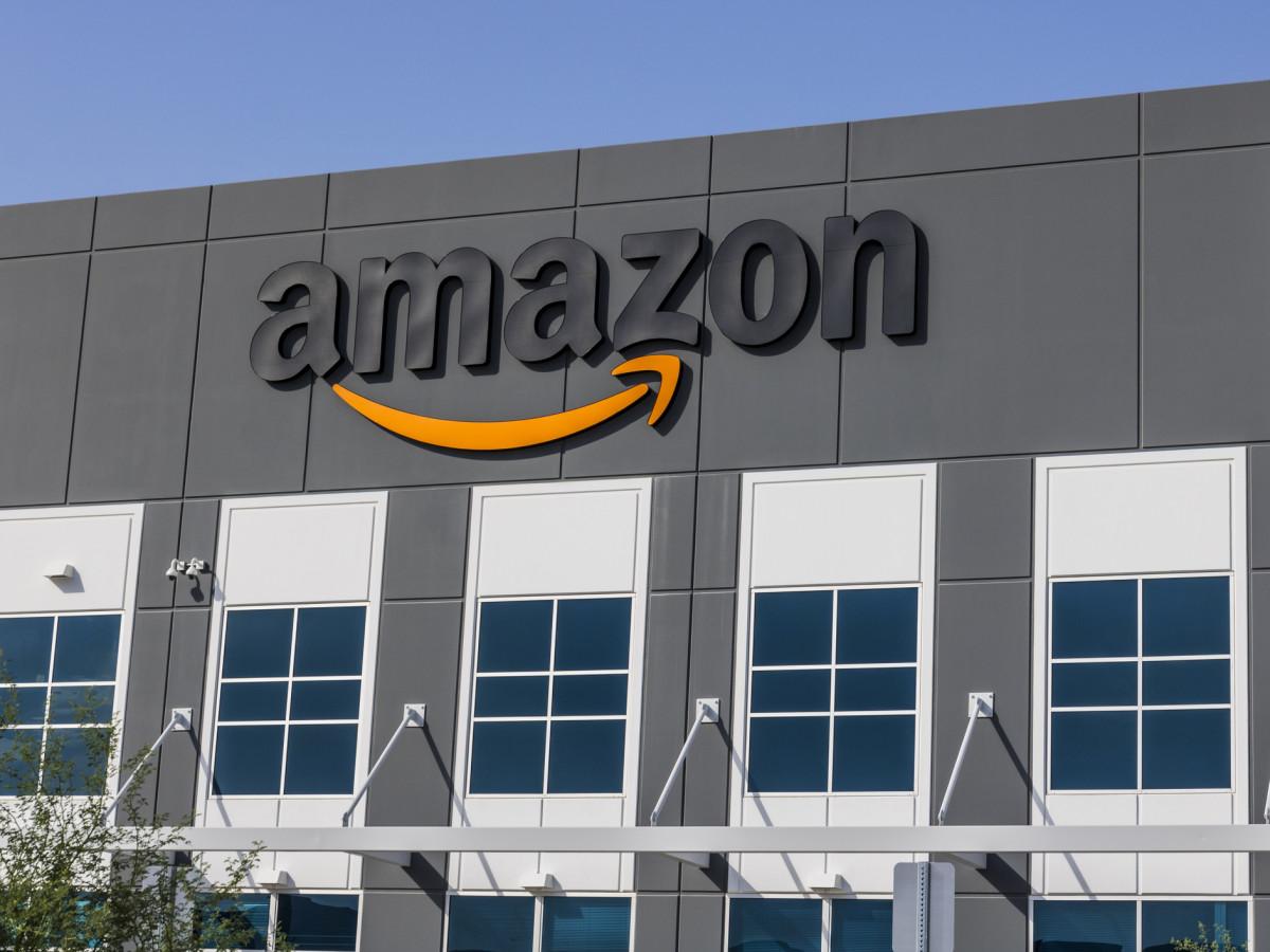 Amazon sign outside headquarters