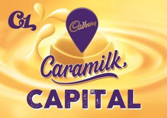 CARAMILK capital text against yellow swirl background