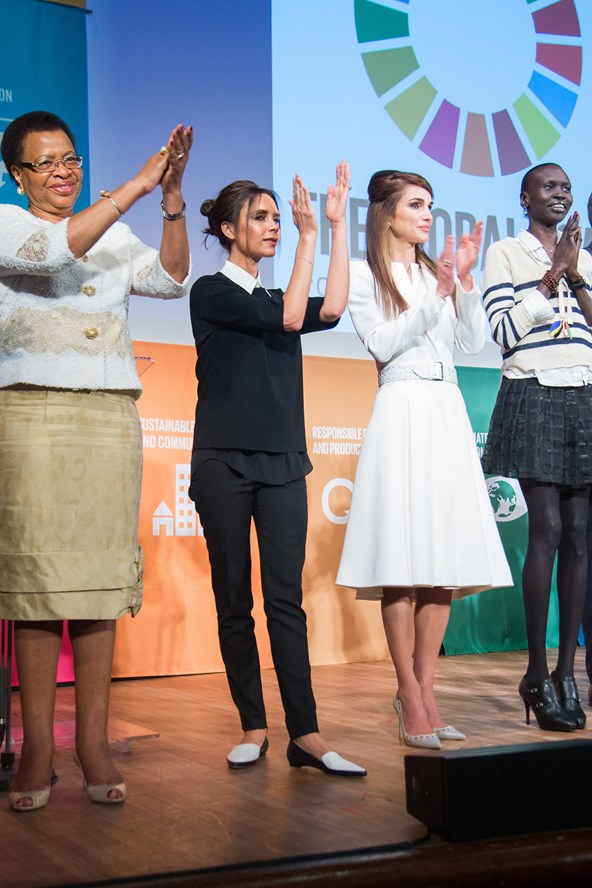 Graca Machel, Victoria Beckham, Queen Rania Al Abdullah of Jordan and Alek Wek attend the Social Good Summit in New York.