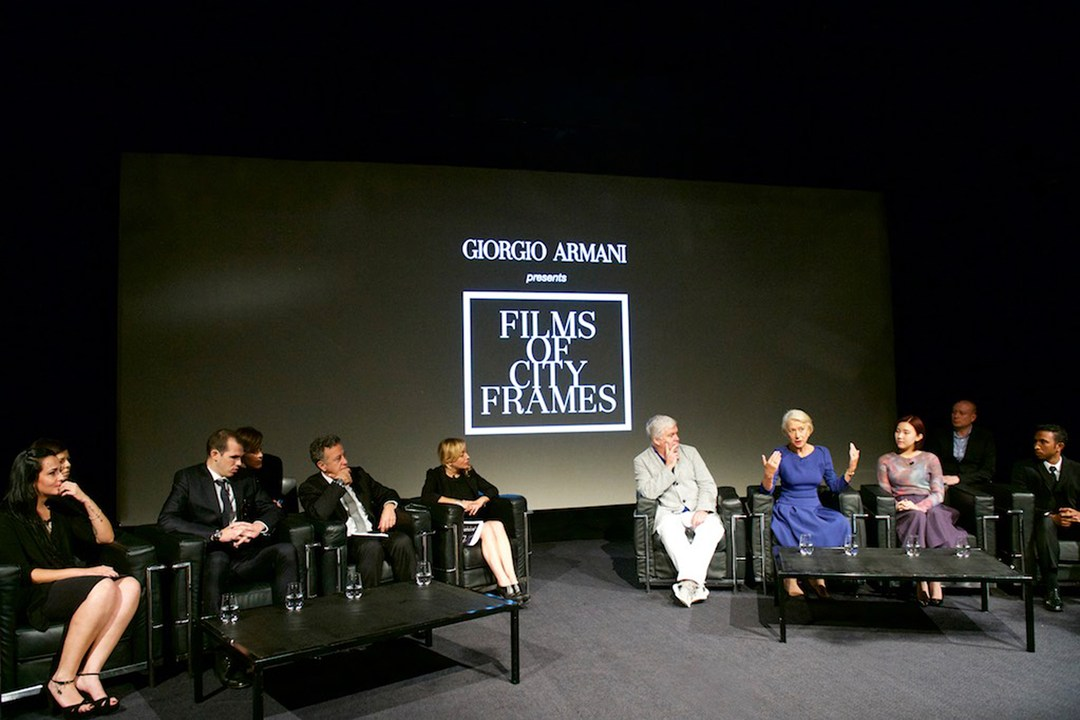 Tim Blanks, Helen Mirren and Roberta Armani participate in a panel discussion at the Giorgio Armani Films of City Frames screening at the BFI London Film Festival.