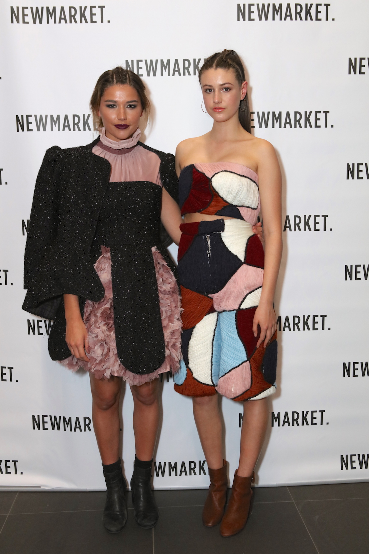 The two winning designs at the Newmarket Young Fashion Designer Award 2015