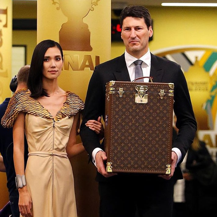 The Rugby World Cup was seen traveling in style, only the best for an international sports icon.