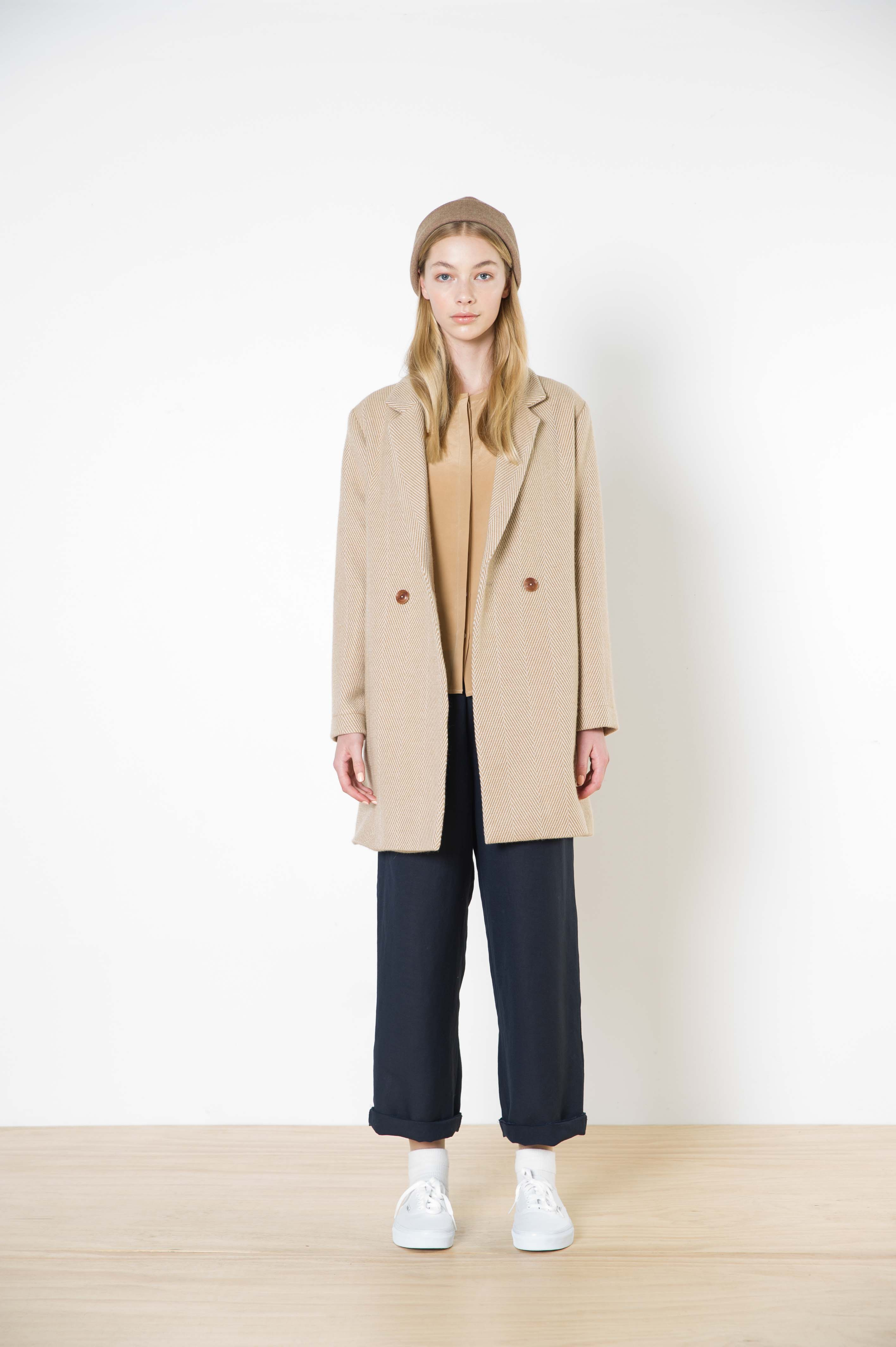 54 untitled coat - camel herringbone