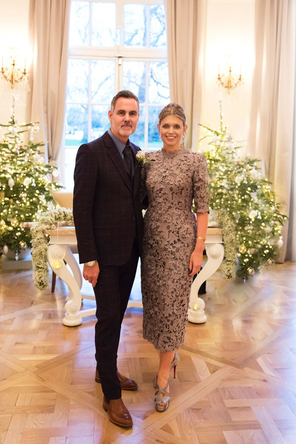 Designer Jenny Packham married her partner Matthew Anderson in a dress designed by herself.