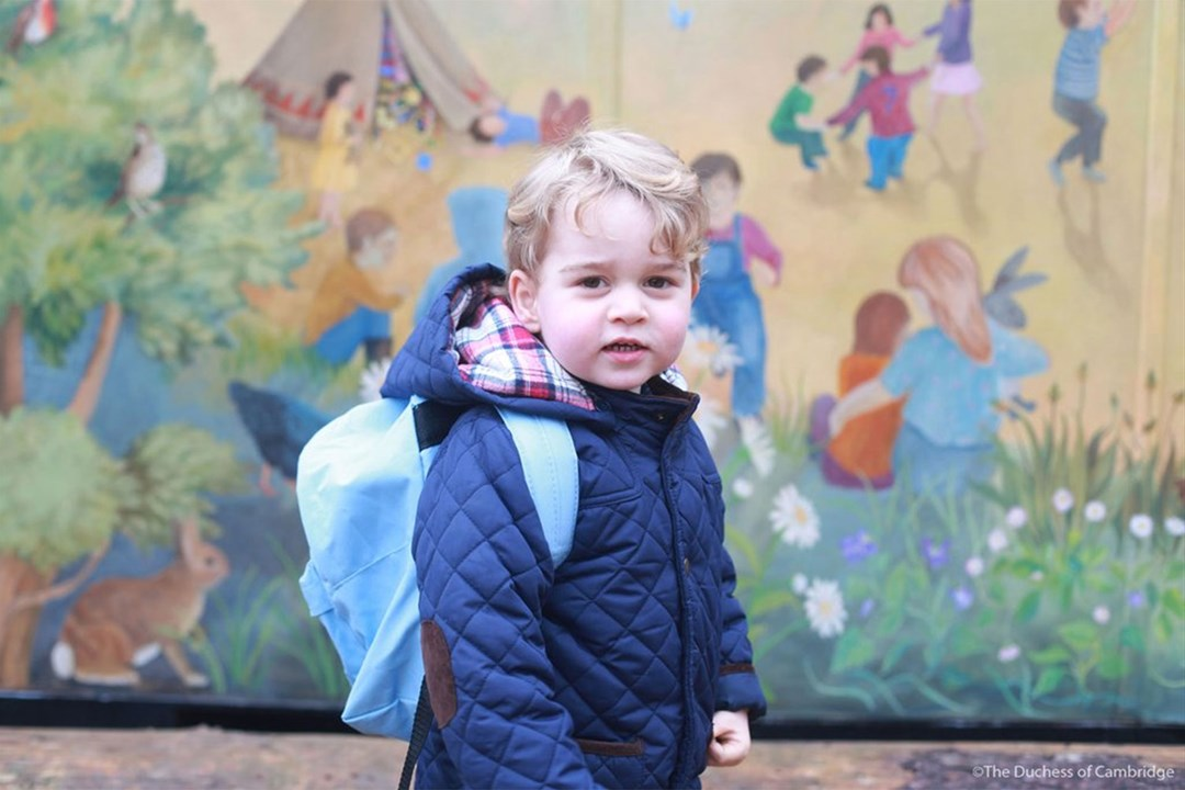 Prince George attended his first day of nursery school and his mother Duchess of Cambridge shared this adorable picture of the two year old.