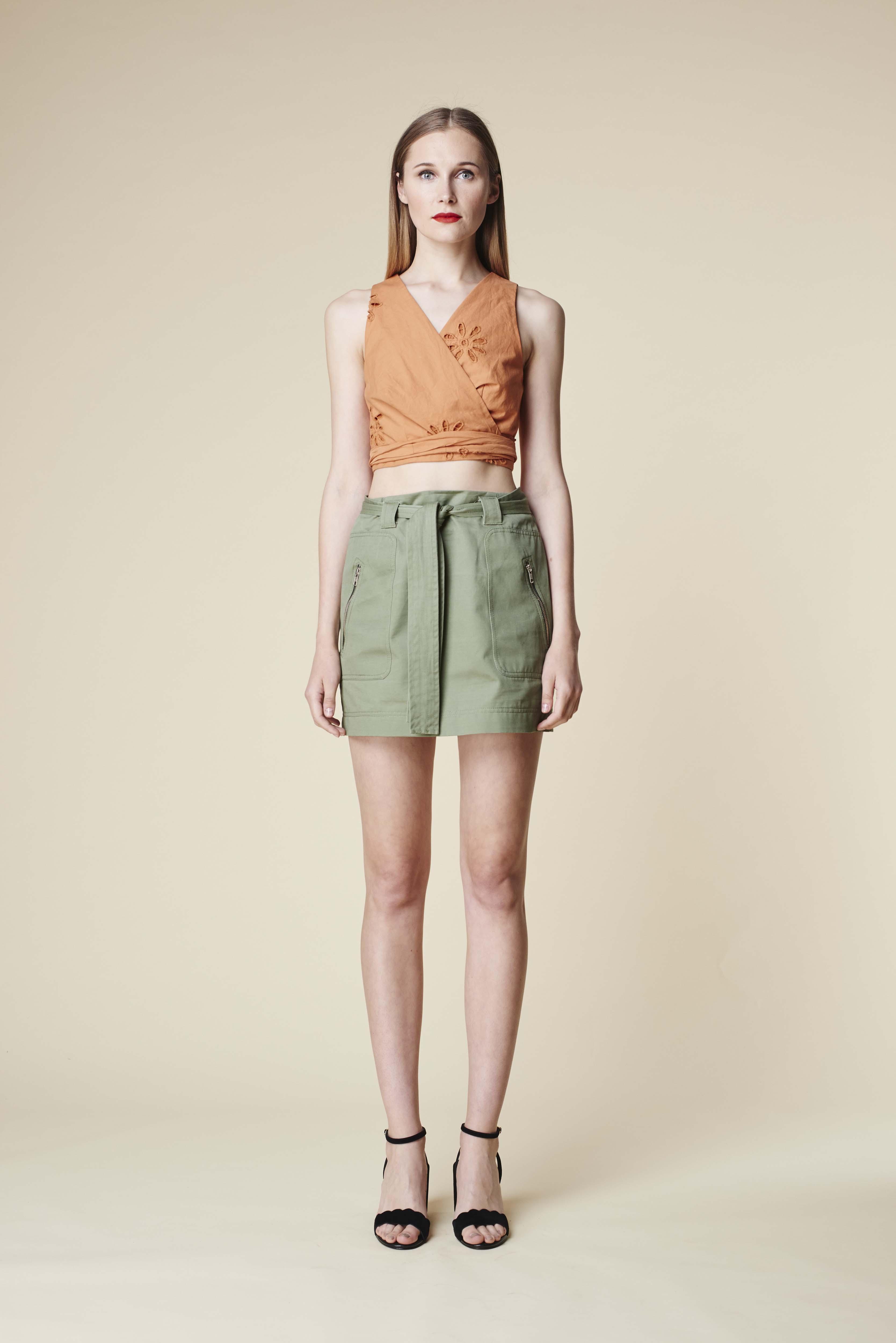 RUBY Aloe Crop Top, Zora Miniskirt & Lila Heel