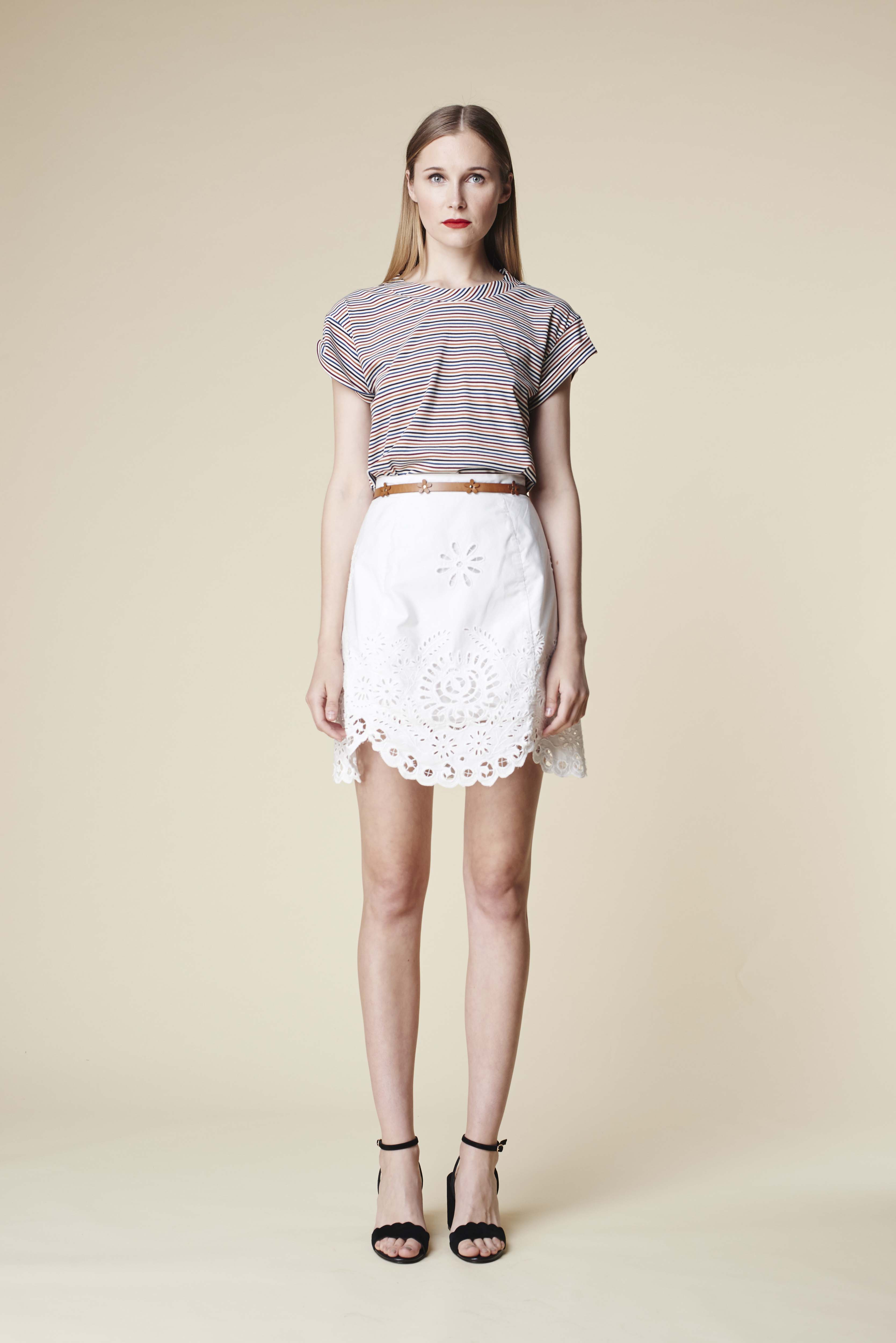 RUBY Mala Stripe T-Shirt, Aloe Skirt & Lila Heel