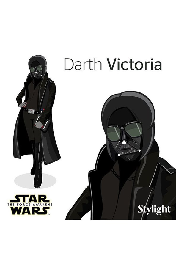 Former Spice Girl and fashion designer Victoria Beckham shared her own version of Star Wars featuring Darth Victoria, a cartoon version of herself striking a pose with Darth Vader's iconic helmet on.