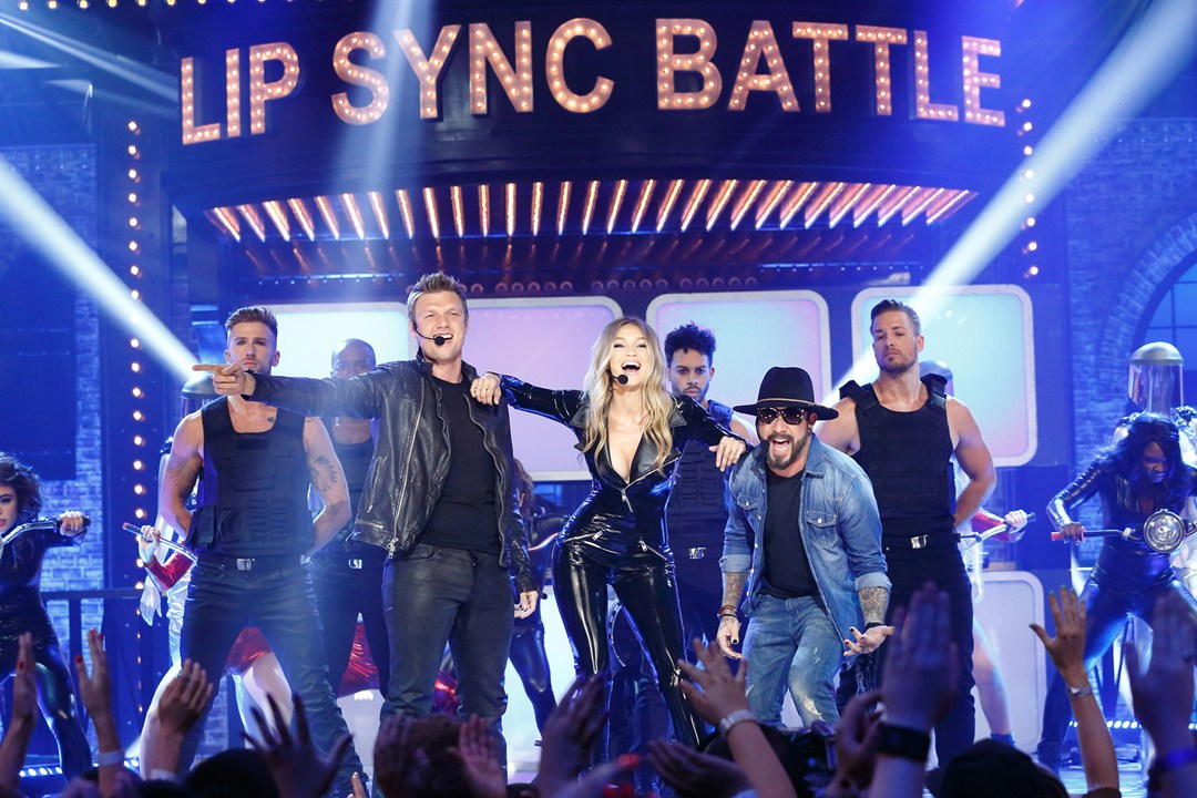 Gigi Hadid joins the Backstreet Boys on Lip Sync Battle for a performance of Larger Than Life.