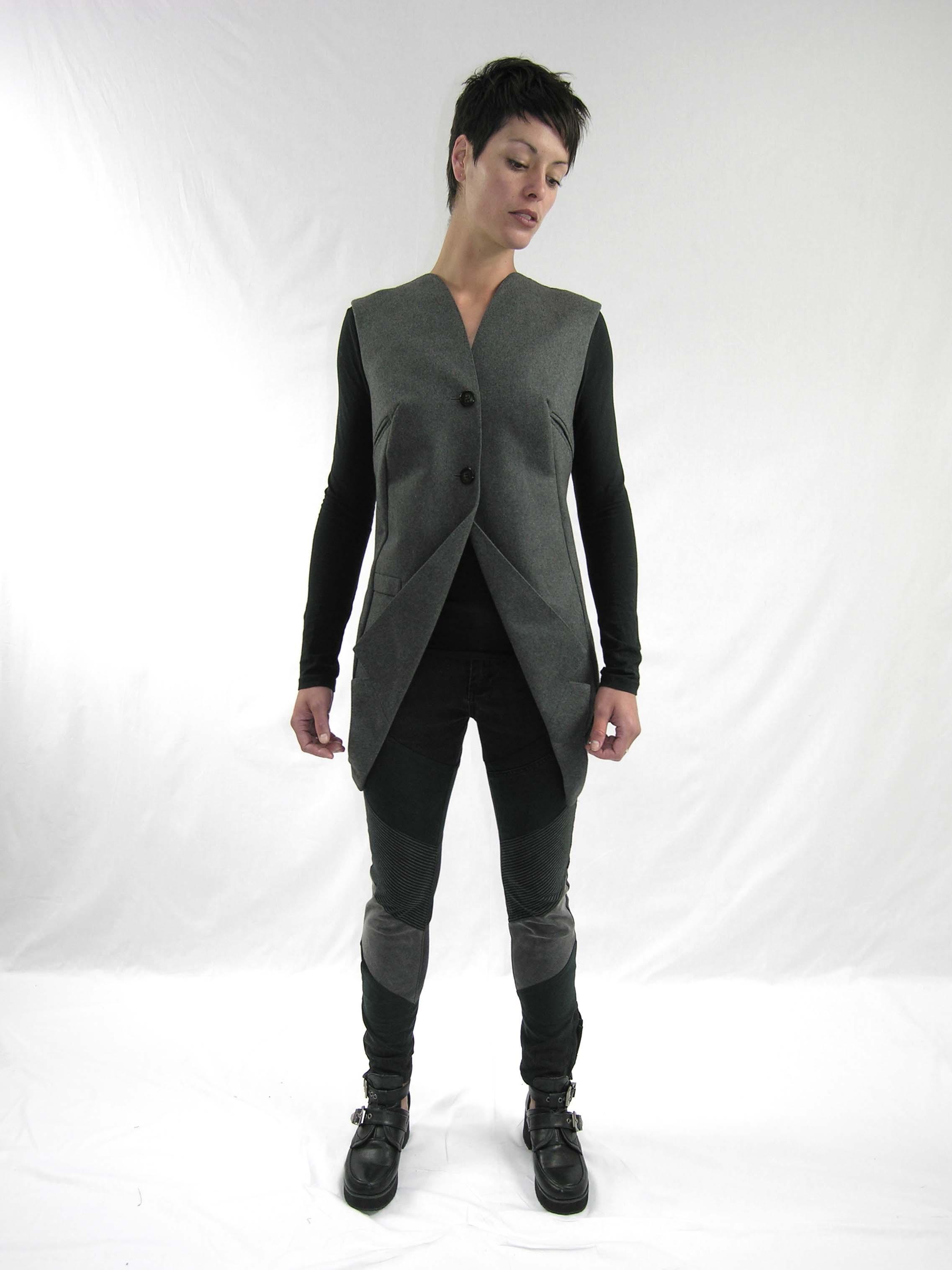 16drop vest, reconstructed jean