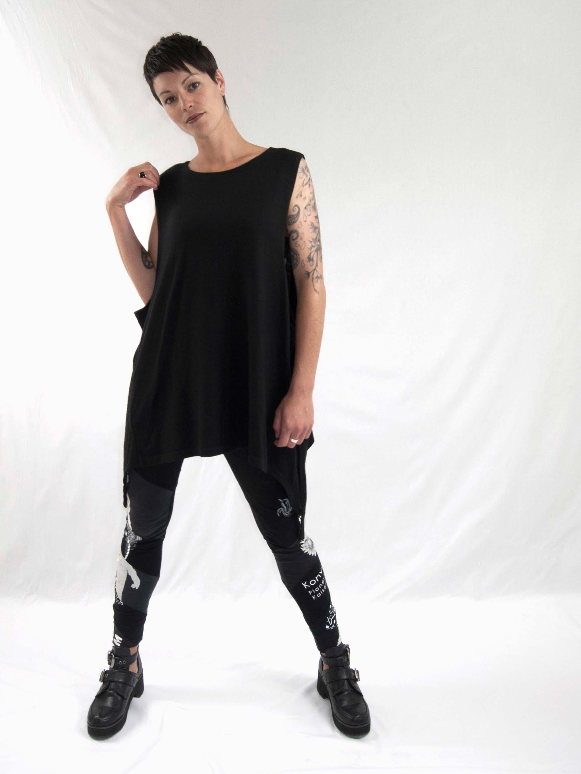 1oversized singlet, reconstructed leggings