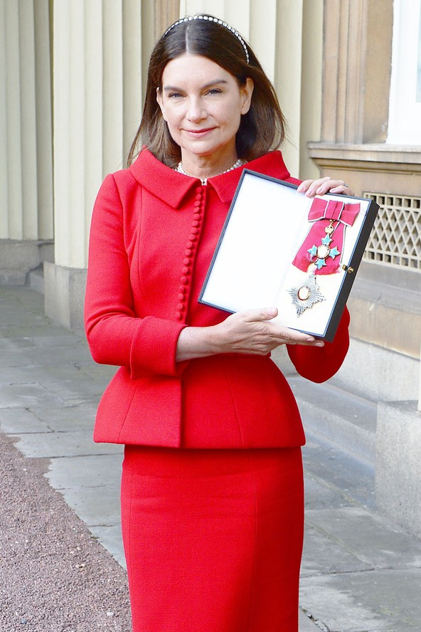 Natalie Massenet is photographed at Buckingham Palace after she was appointed a Dame Commander of the Order of the British Empire.