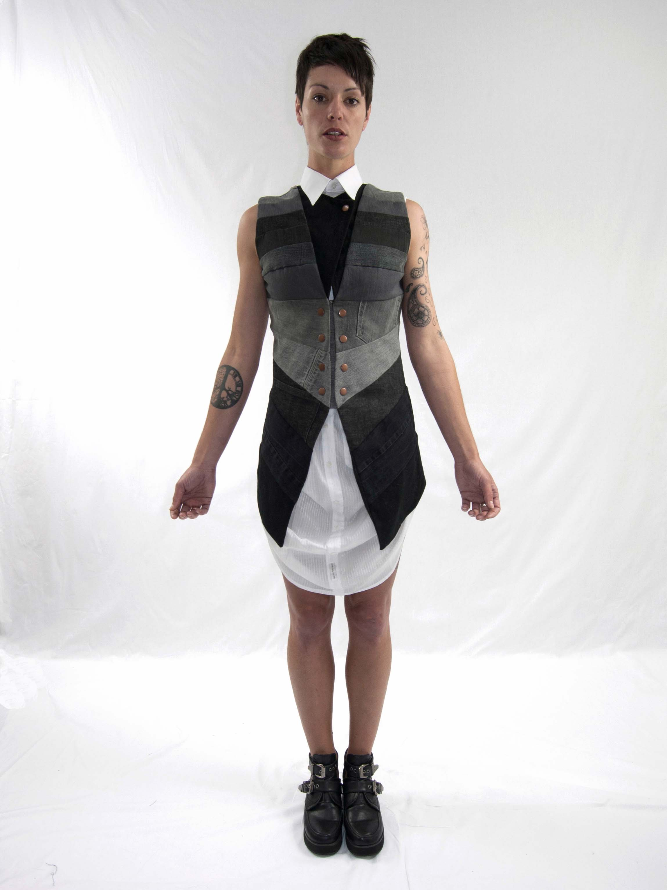 3perspective vest, gathered up dress