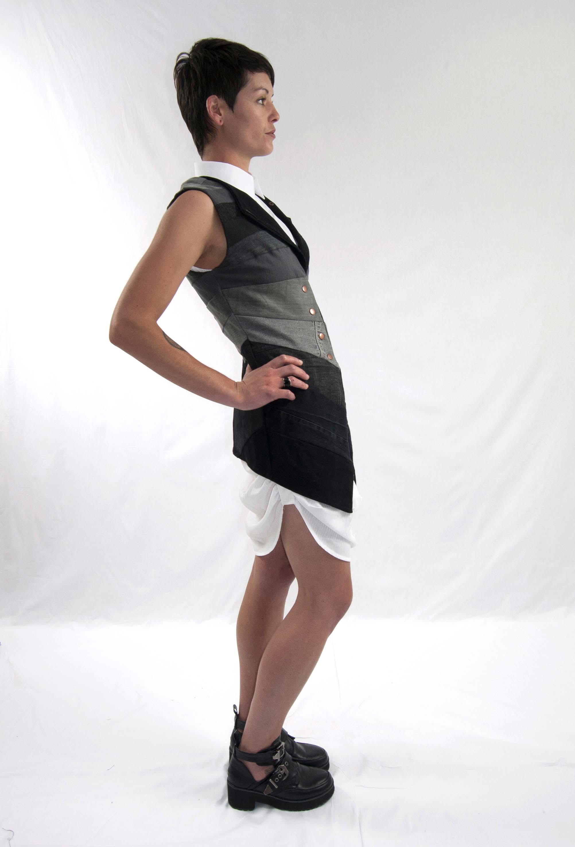 4perspective vest, gathered up dress side