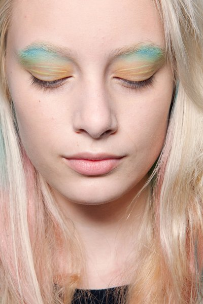 Pastel shades are always big news for spring, but at Fashion Week, models showcased lids awash with multiple macaroon hues.