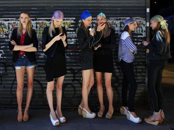 Models backstage at NYFW16