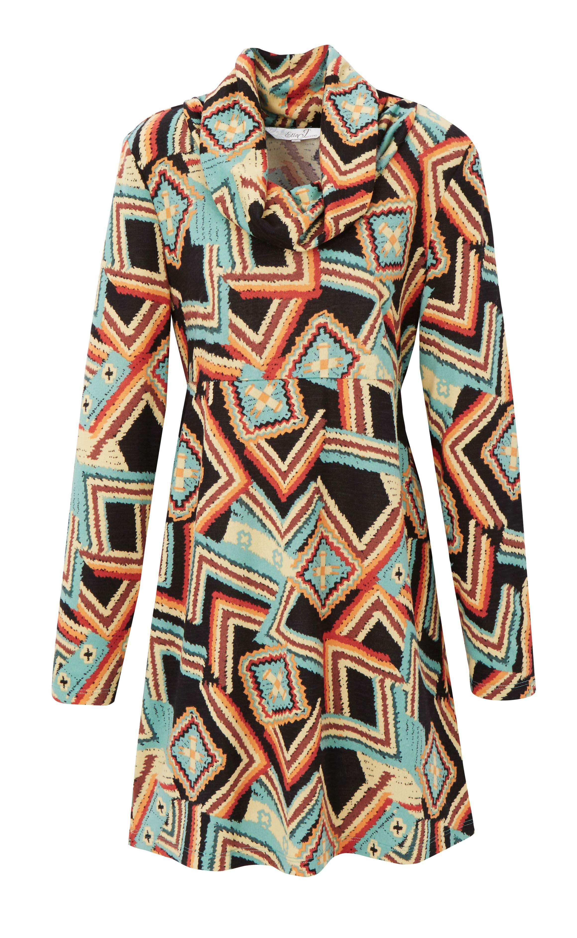 6085443 Ella J Weekend Cowl Neck Winter Knit Longline Top Aztec Print $59.99 Instore 8 Mar 2016