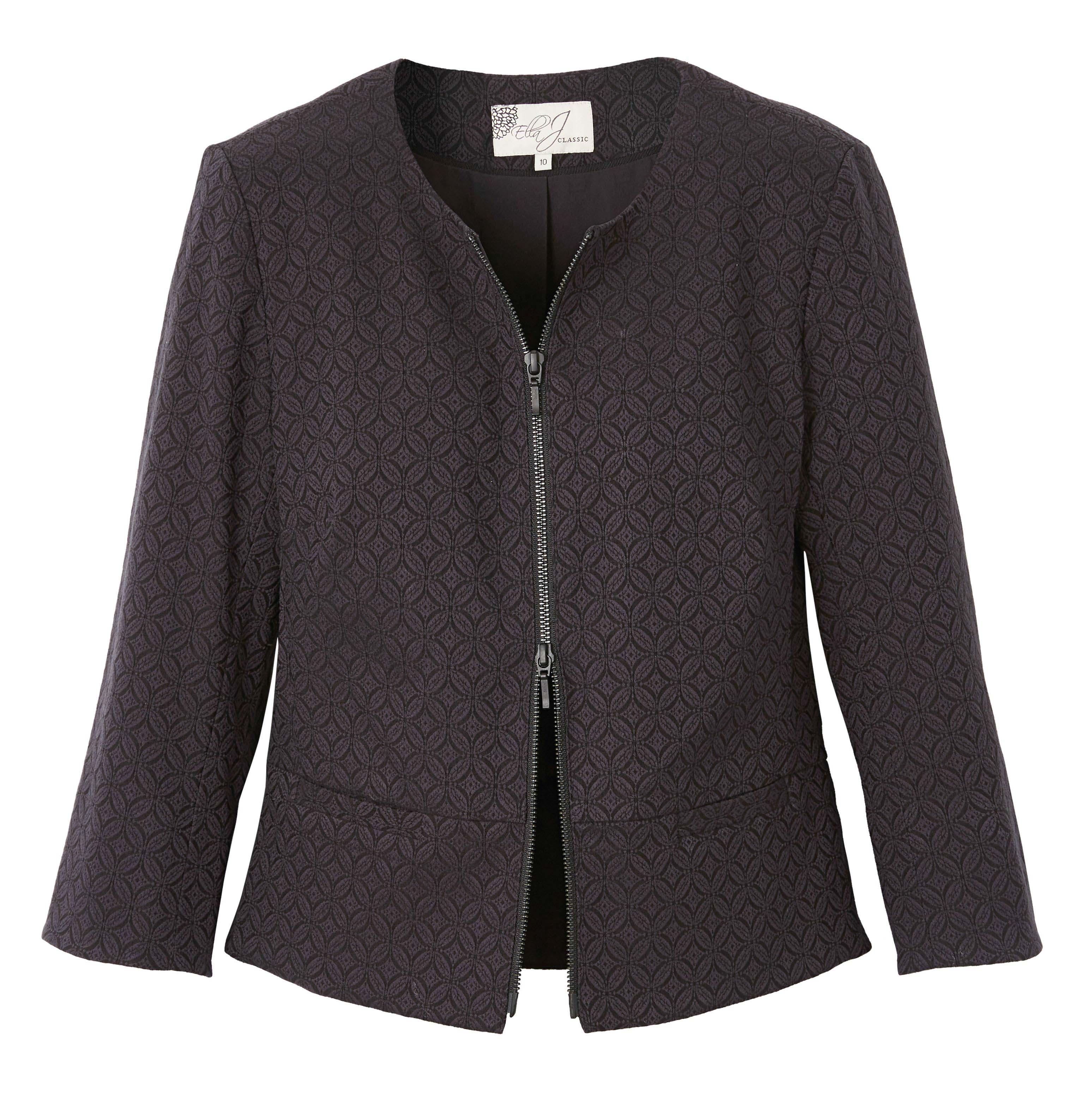 6085693 Ella J Classic Textured Zip Front Jacket Black $119.99 Instore 1 Mar 2016