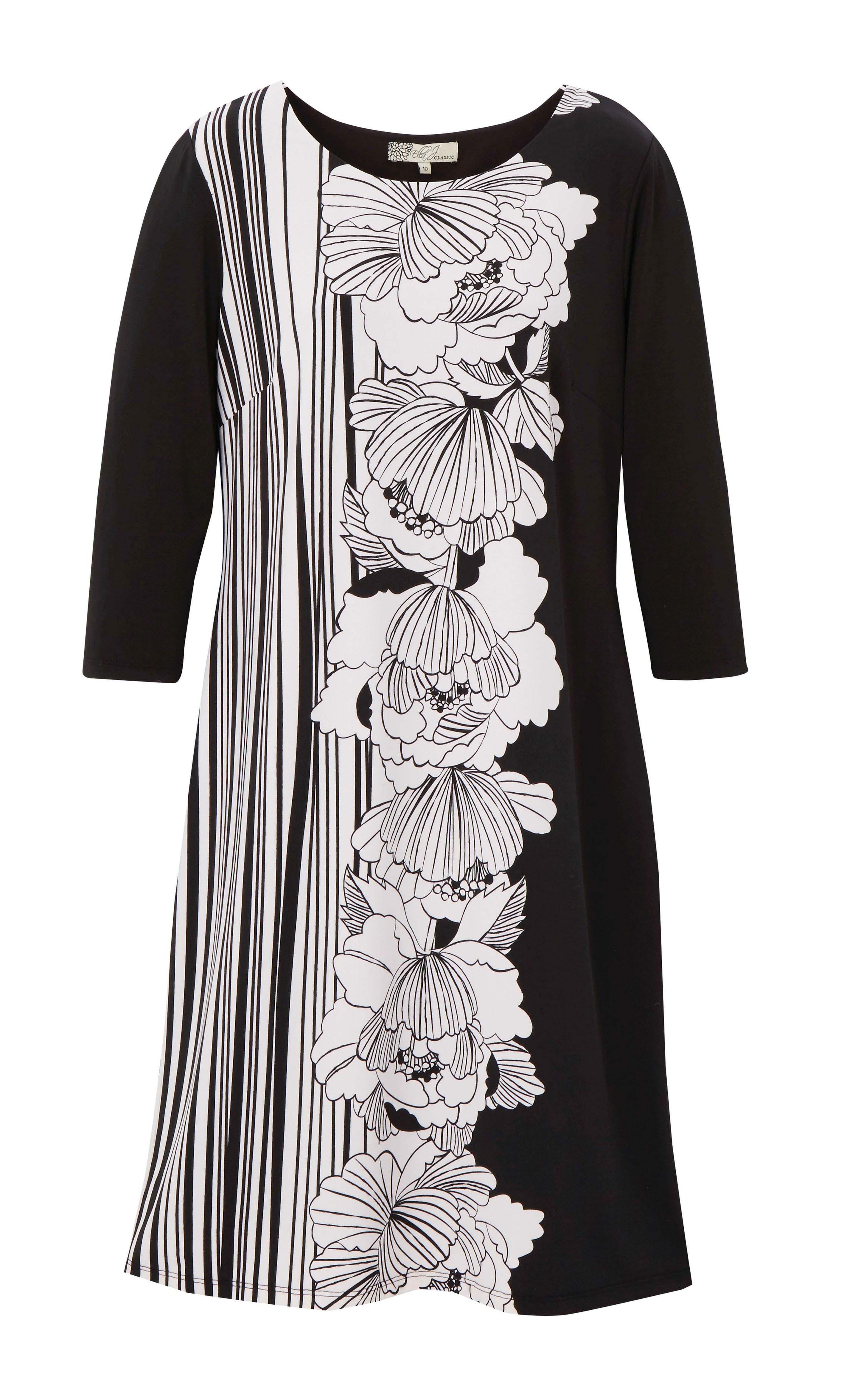 6090018 Ella J Classic Dress Flower Print Black White $79.99 Instore 29 Feb 2016