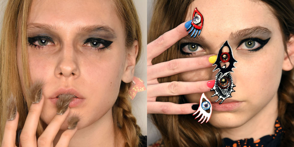 NYFW Nail Trends – Libertine – CDN design studio made two sets of nails for Libertine's Niki de Saint Phalle-inspired collection:  faux fur nails and sculptural eyes embellished with Swarovski