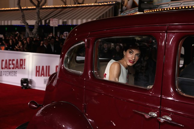 Amal Clooney arrived at the premiere of her husband's latest film, Hail, Caesar! in California.