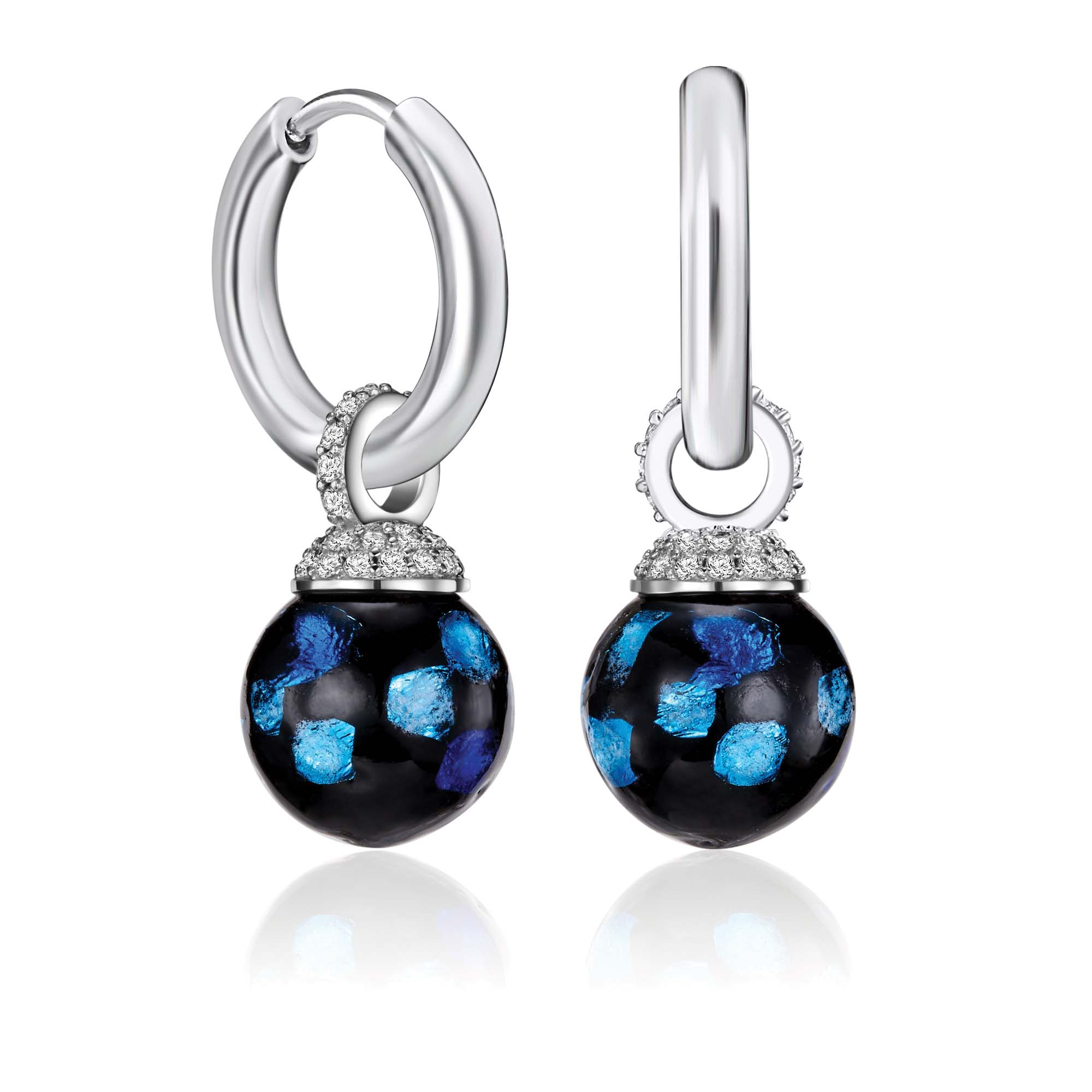 Kagi Blue Danube Drops Earcharms $99 on Silver Huggies $49 www.kagi.net