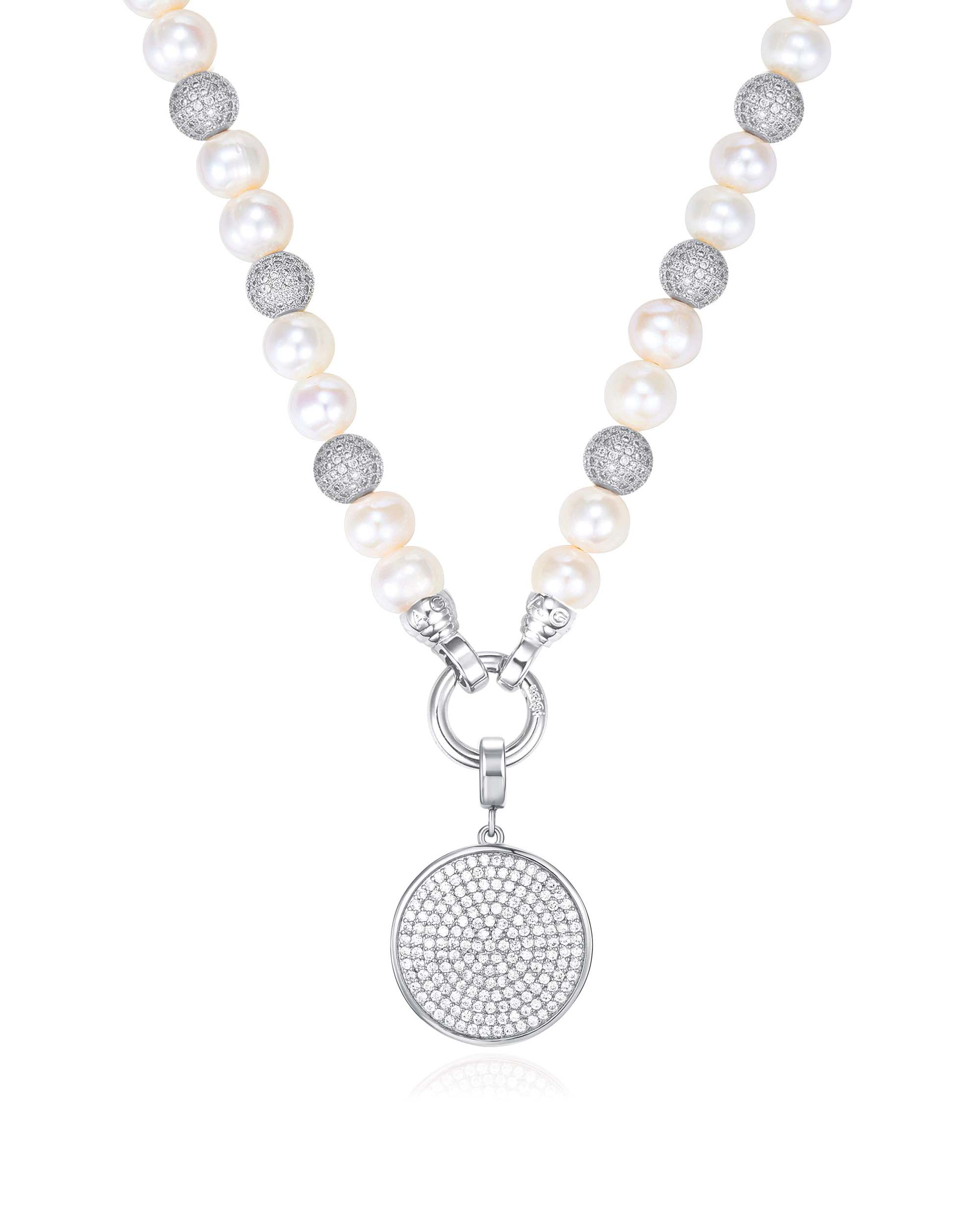 Kagi Pearl Luxe Necklace with Silver Cosmos Pendant $139 www.kagi.net