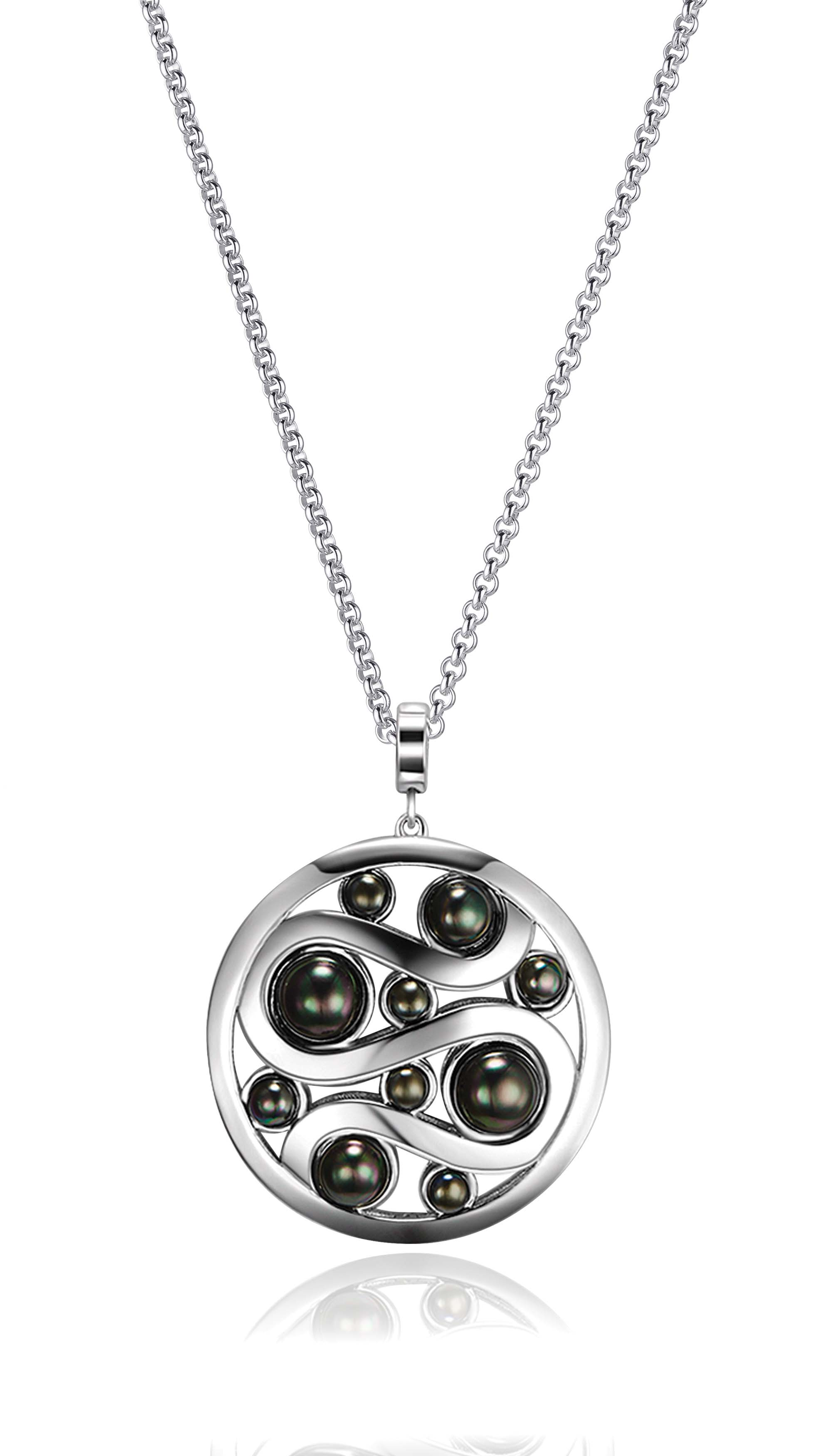 Kagi Steel Me Petite Necklace 47cm $129 with Mystic Pearl Pendant (Dark Side) $249 www.kagi.net