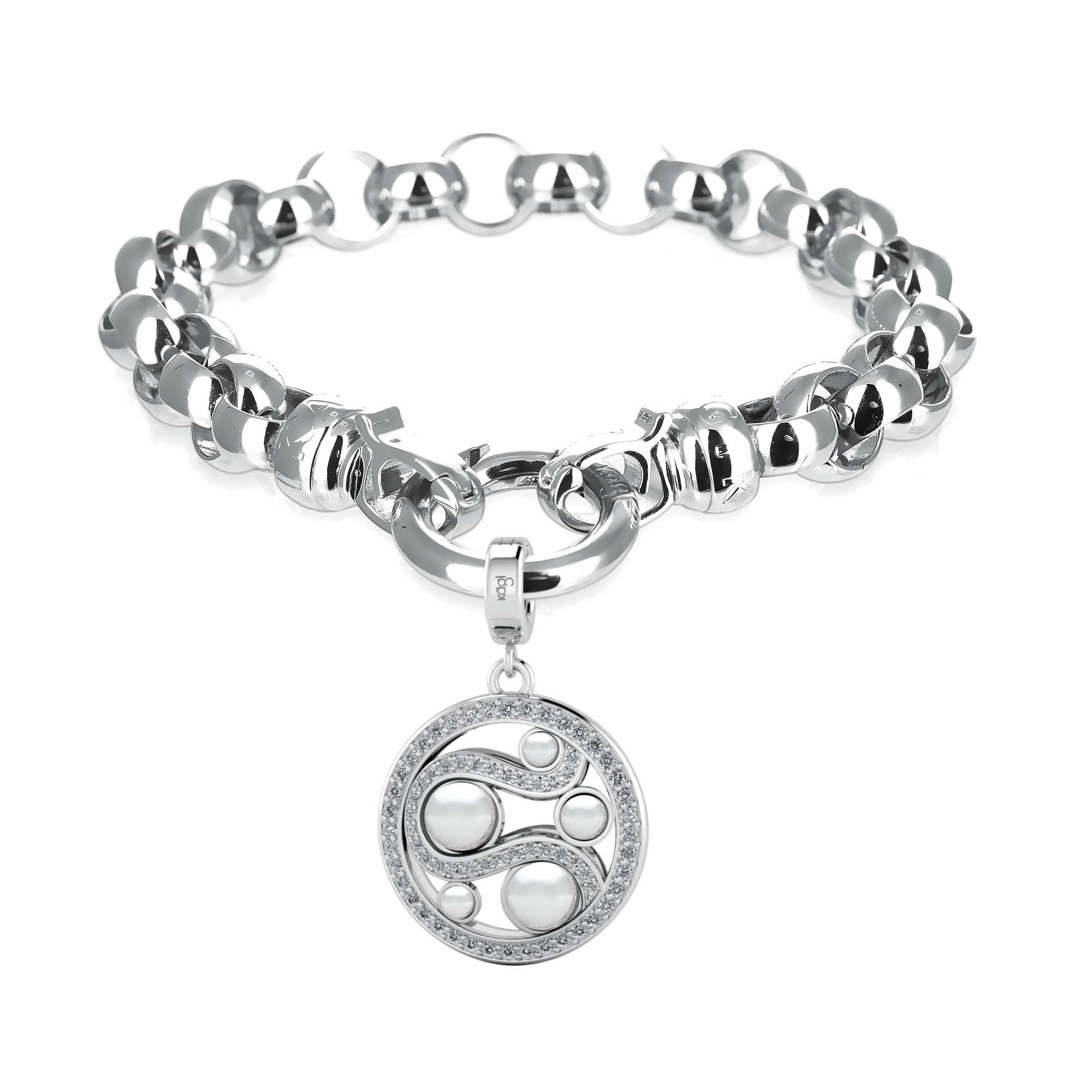 Kagi Steel Me Silver Bracelet $169 with Mystic Pearl Pendant Small $149 www.kagi.net