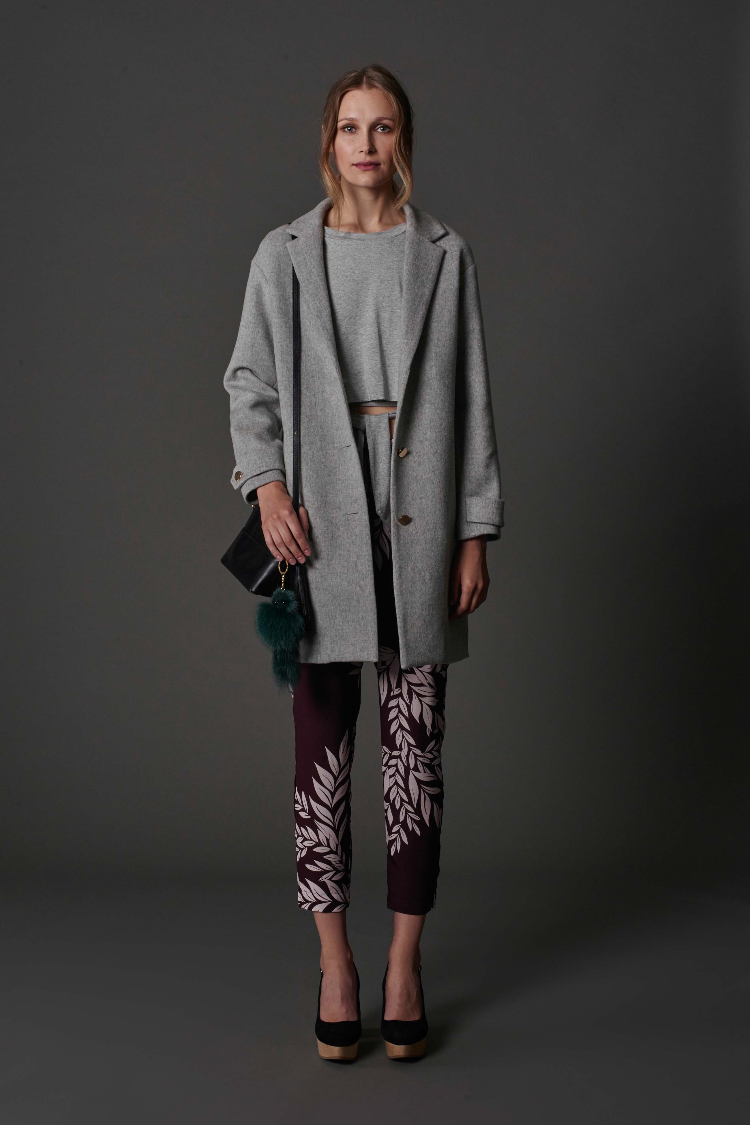 RUBY King Coat, Alta Wrap T-Shirt, Iva Trouser, Lila Shoulder Bag & Halo Heel