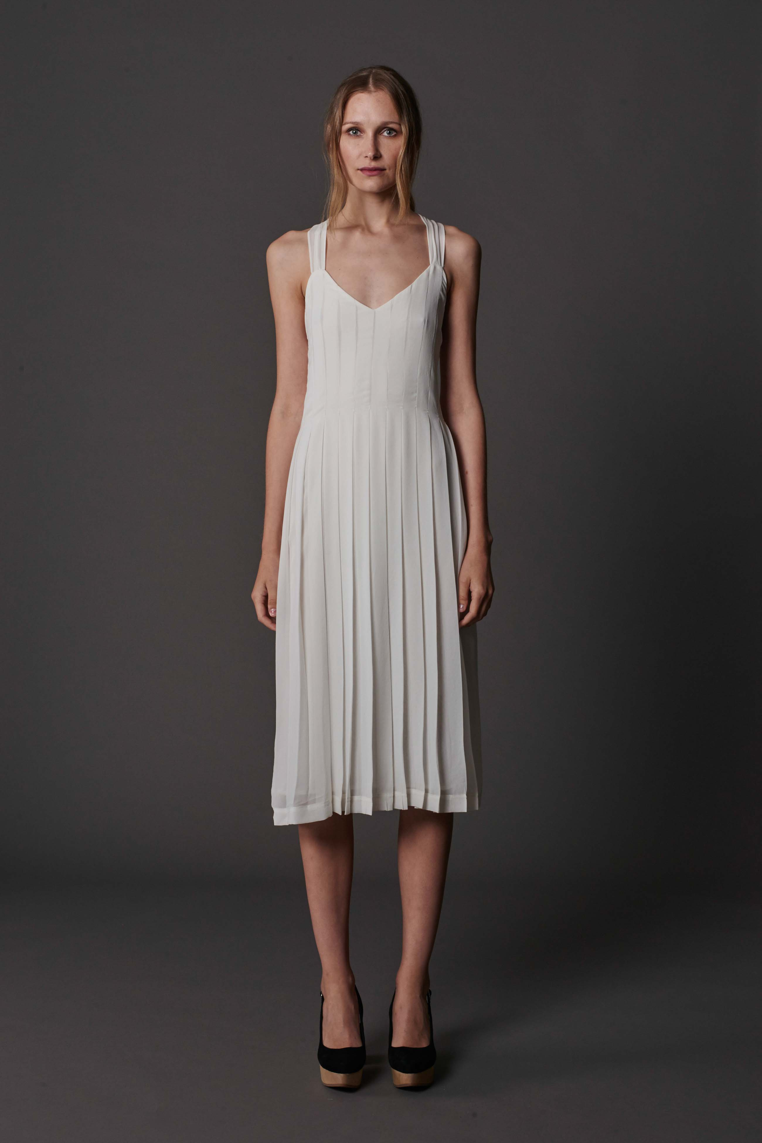 RUBY Lila Pleat Dress (ivory) & Halo Heel