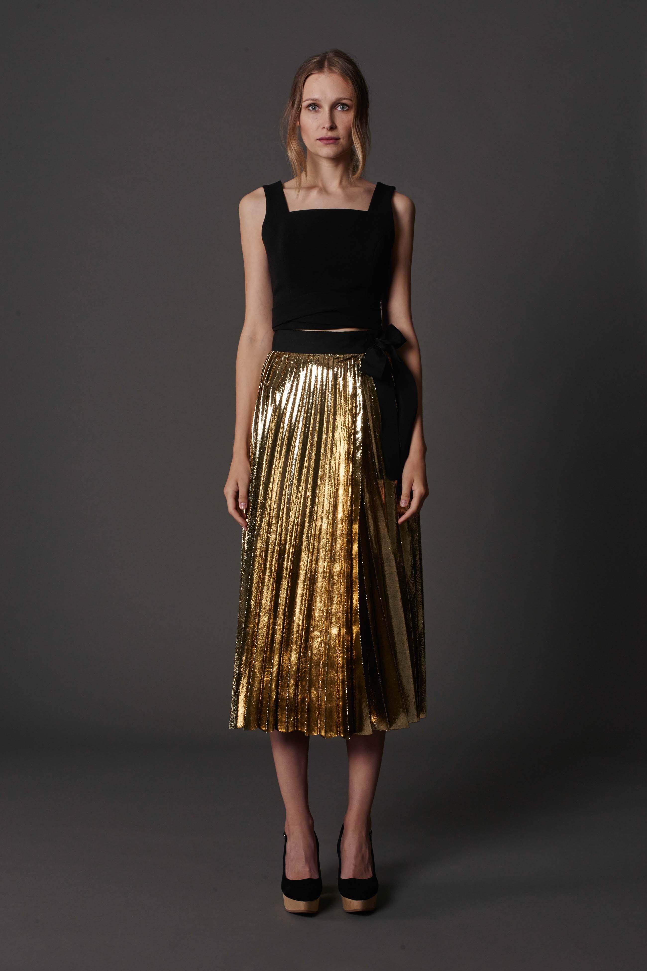 RUBY Nazad Crop Top, Zlata Pleat Skirt & Halo Heel